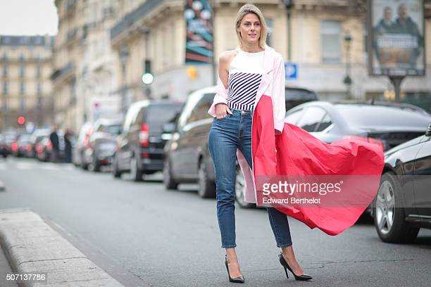Sofie Valkiers wearing Wim Bruynooghe before Jean Paul Gaultier show during Paris Fashion Week Haute Couture Spring Summer 2016 on January 27 2016 in...