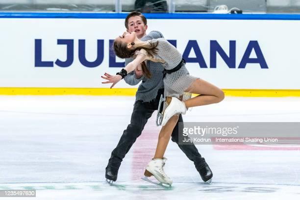 Sofiia Kachushkina and Oleg Muratov of Russia perform during the ISU Junior Grand Prix of Figure Skating at Tivoli Hall on September 25, 2021 in...
