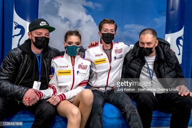 Sofiia Kachushkina and Oleg Muratov of Russia react during the ISU Junior Grand Prix of Figure Skating at Tivoli Hall on September 25, 2021 in...
