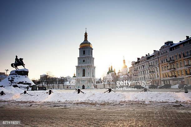 sofiskaya square in winter, kiev - kiev stock pictures, royalty-free photos & images