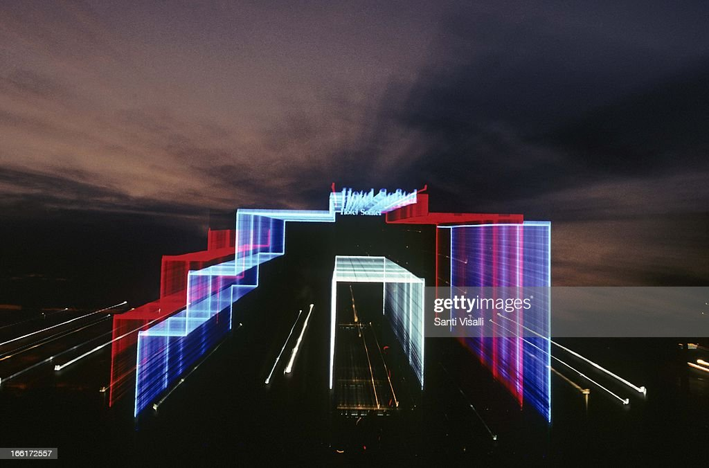 Sofitel Hotel at night on January 30, 1993 in Miami, Florida. (Photo by Santi Visalli/Getty Images}