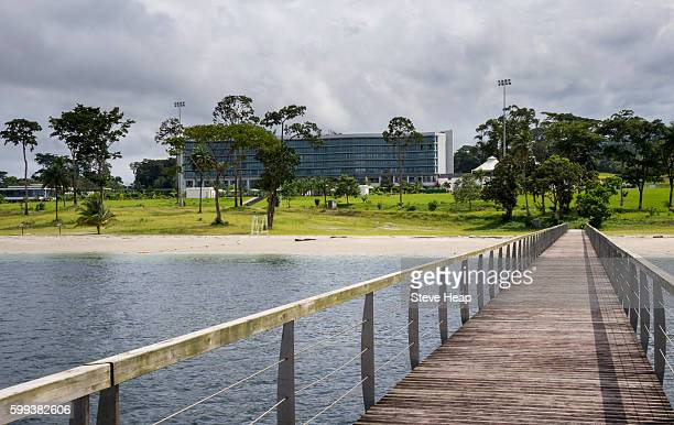 sofitel hotel gardens from bridge over ocean in sipopo near the capital city of malabo, equatorial guinea, africa - malabo fotografías e imágenes de stock