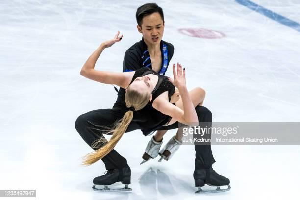 Sofiya Lukinskaya and Danil Pak of Kazakhstan perform during the ISU Junior Grand Prix of Figure Skating at Tivoli Hall on September 25, 2021 in...