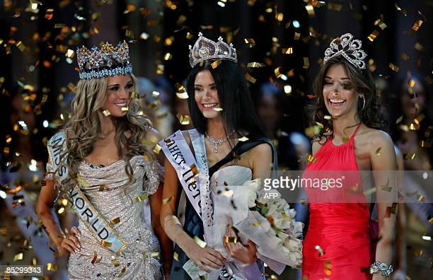 Sofiya Rud'eva Miss World 2008 Kseniya Sukhinova Miss Universe 2008 Dayana Mendoza pose after Rud'eva is being crowned Miss Russia 2009 in Moscow on...