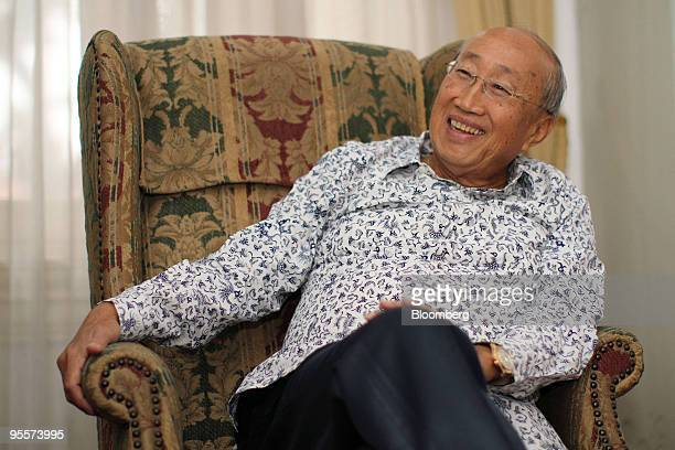 Sofjan Wanandi chairman of the Indonesia National Business Development Council smiles during an interview in Jakarta Indonesia on Thursday Nov 26...