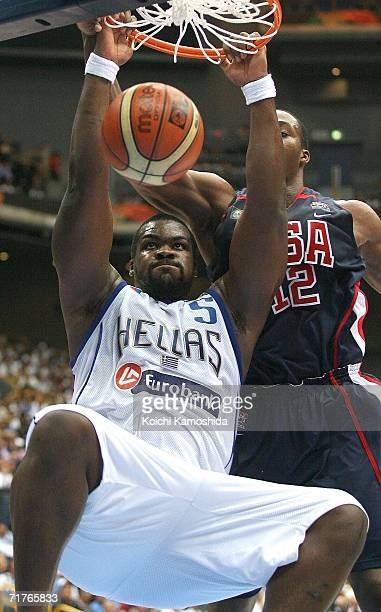 Sofoklis Schortsianitis of Greece dunks against the USA during the FIBA World Championship 2006 Semi-Finals on September 1, 2006 in Saitama, Japan....