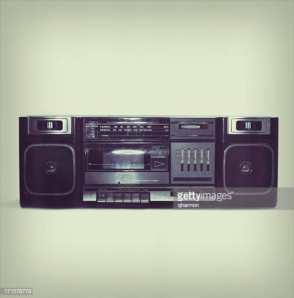 soft black boombox centered with white background and slight border