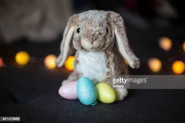 soft bunny with easter eggs
