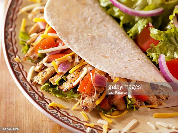 Soft Chicken Taco with a Side Salad