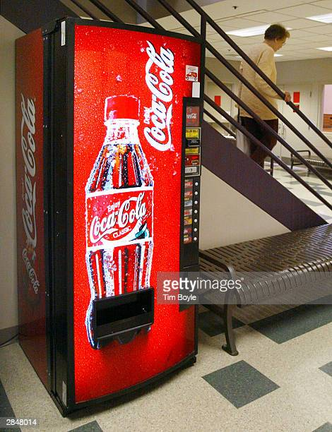 Soft drink vending machine is shown at a health facility January 6, 2004 in Des Plaines, Illinois. The American Academy of Pediatrics this week...
