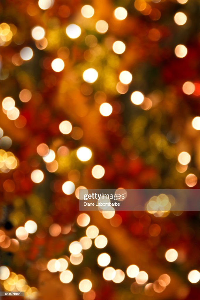 Soft Focus Christmas Tree Lights Vertical Background Stock Photo