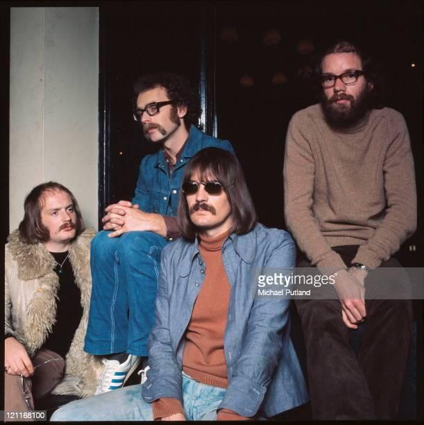 Soft Machine group portrait backstage Guildford UK November 1972 LR Karl Jenkins John Marshall Mike Ratledge Hugh Hopper