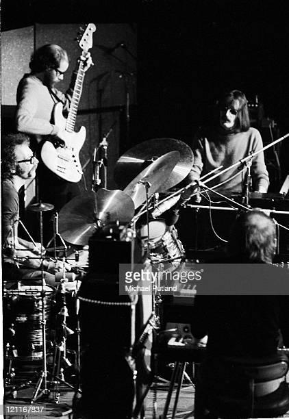 Soft Machine perform on stage Guildford UK November 1972 LR John Marshall Hugh Hopper Mike Ratledge Karl Jenkins
