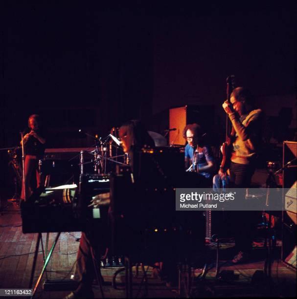 Soft Machine perform on stage Guildford UK November 1972 LR Karl Jenkins Mike Ratledge John Marshall Hugh Hopper