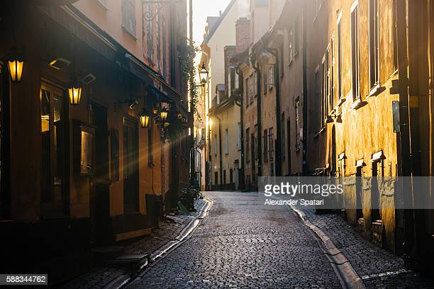 Soft morning light on the streets of Gamla Stan (Old Town) in Stockholm, Sweden