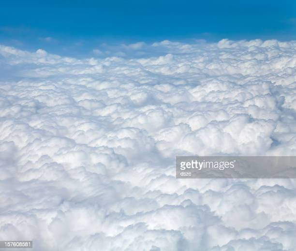 soft puffy cloudscape seen from airplane