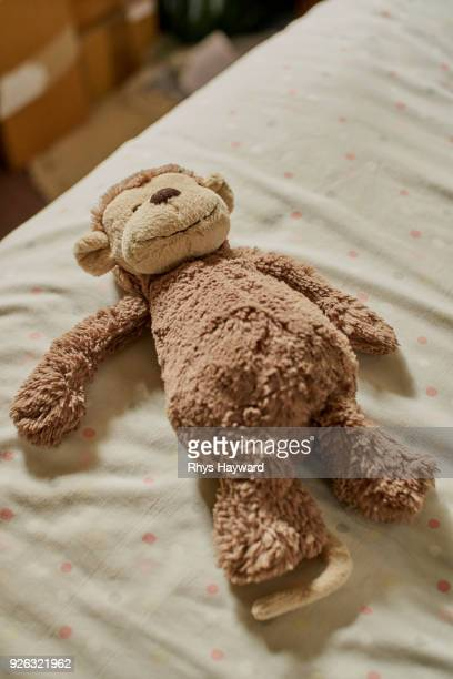 soft toy monkey on bed - soft toy stock pictures, royalty-free photos & images