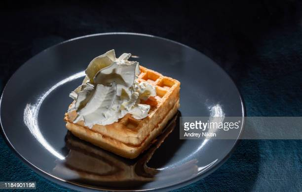 soft viennese waffles plate with whipped