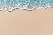 Soft wave lapped the sandy beach, Summer Background.