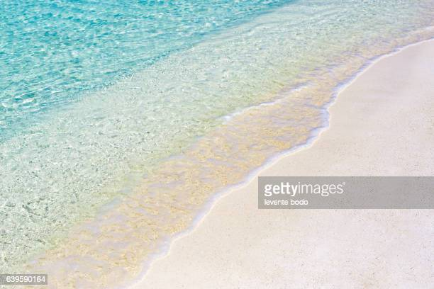 soft wave of blue ocean on sandy beach. website background design. - water's edge stock pictures, royalty-free photos & images