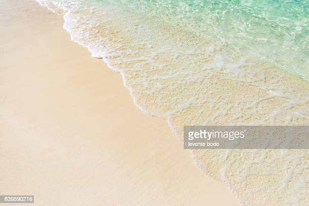 Soft wave of blue ocean on sandy beach. Website background design.