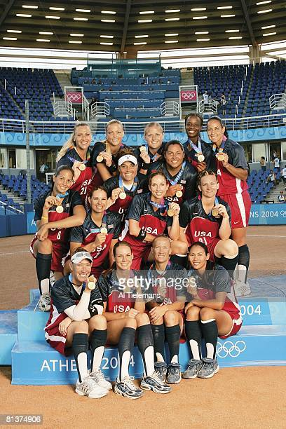 Softball: 2004 Summer Olympics, Portrait of Team USA victorious on stand with gold medal after winning final game vs AUS at Olympic Softball Stadium,...