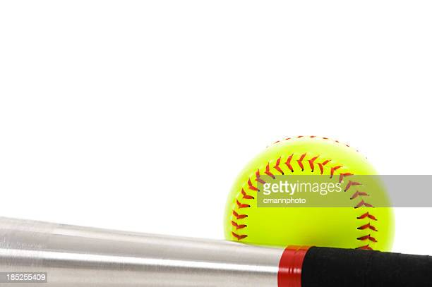 softball and bat - sports bat stock pictures, royalty-free photos & images