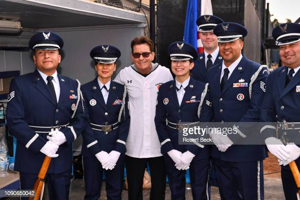 California Strong Celebrity Game Actor Charlie Sheen posing for picture with Air Force officers after game at Pepperdine University The charity game...