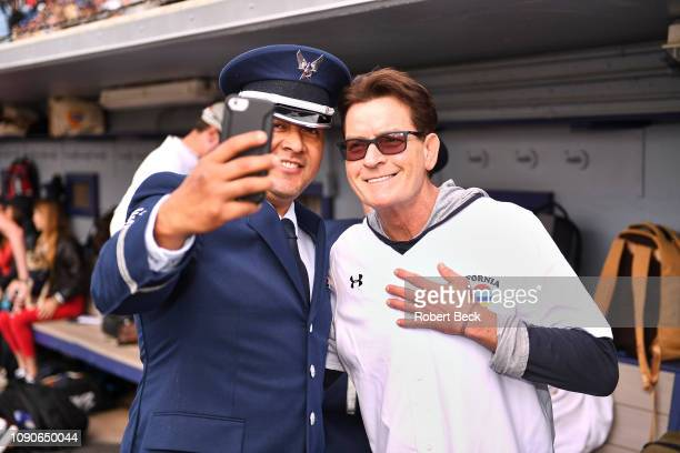 California Strong Celebrity Game Actor Charlie Sheen posing for picture with Air Force officer after game at Pepperdine University The charity game...
