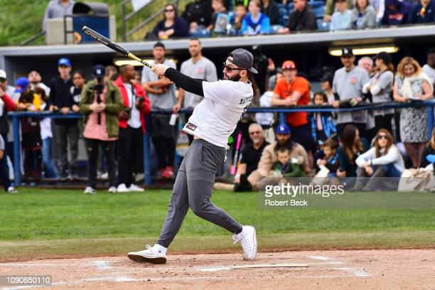 California Strong Celebrity Game Cleveland Browns QB Baker Mayfield in action at bat at Pepperdine University The charity game raised funds for those...