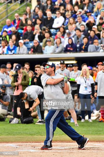 California Strong Celebrity Game Comedian Adam Sandler in action at bat at Pepperdine University The charity game raised funds for those affected by...