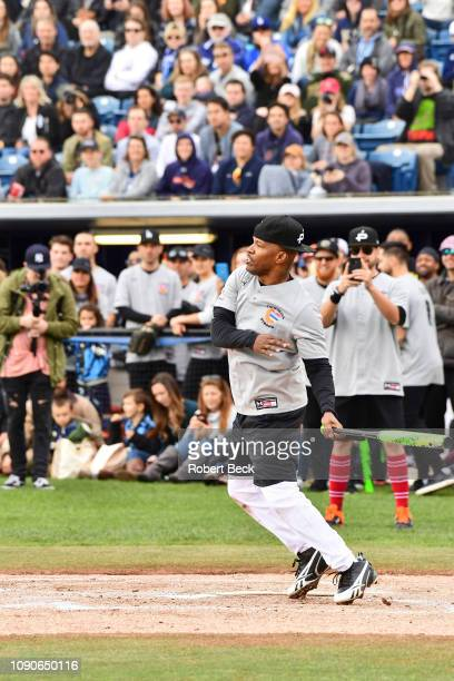 California Strong Celebrity Game Comedian Jamie Foxx in action at bat at Pepperdine University The charity game raised funds for those affected by...