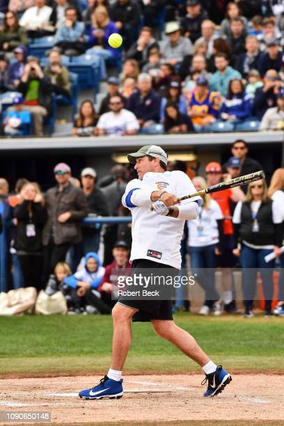 California Strong Celebrity Game Comedian Rob Riggle in action at bat at Pepperdine University The charity game raised funds for those affected by...