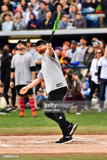 California Strong Celebrity Game Los Angeles Dodgers Justin Turner in action at bat at Pepperdine University The charity game raised funds for those...
