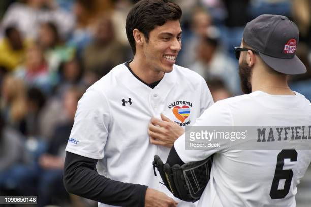 California Strong Celebrity Game Milwaukee Brewers Christian Yelich and Cleveland Browns QB Baker Mayfield talking before game at Pepperdine...