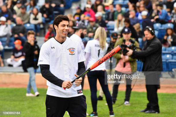 California Strong Celebrity Game Milwaukee Brewers Christian Yelich before game at Pepperdine University The charity game raised funds for those...