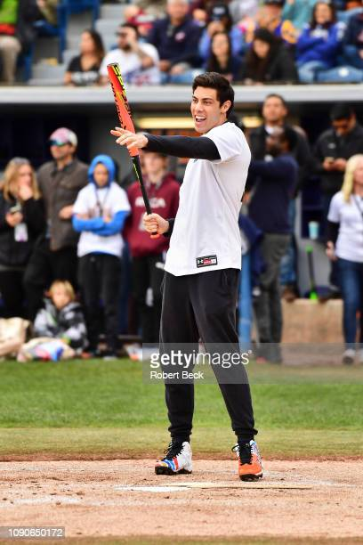 California Strong Celebrity Game Milwaukee Brewers Christian Yelich during at bat at Pepperdine University The charity game raised funds for those...