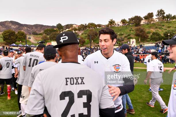 California Strong Celebrity Game Milwaukee Brewers Christian Yelich with comedian Jamie Foxx after game at Pepperdine University Malibu CA CREDIT...