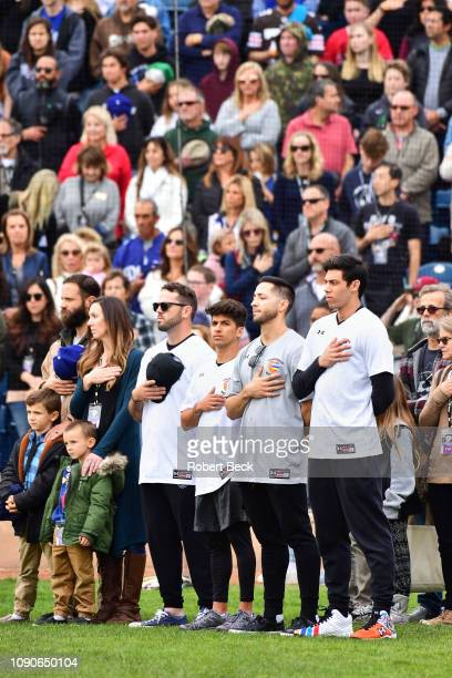 California Strong Celebrity Game Milwaukee Brewers Mike Moustakas Mike Attanasio Ryan Braun and Christian Yelich during anthem before game at...