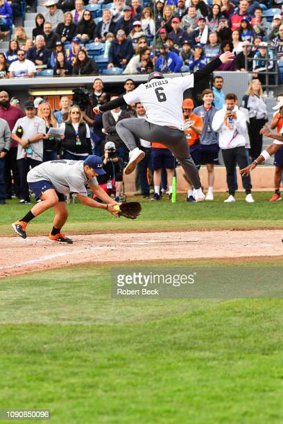 California Strong Celebrity Game Rear view of Cleveland Browns QB Baker Mayfield in action running bases at Pepperdine University The charity game...