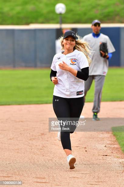 California Strong Celebrity Game Sports Illustrated swimsuit model Camille Kostek in action running bases at Pepperdine University The charity game...