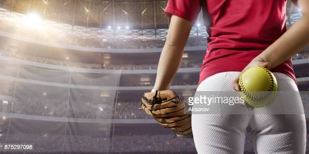 softball female player on a professional arena - baseball uniform stock pictures, royalty-free photos & images