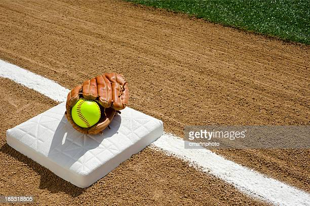 softball - first base - softball stock pictures, royalty-free photos & images