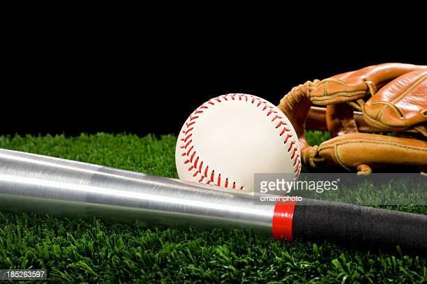 softball, glove and aluminum bat - night game - cmannphoto stock pictures, royalty-free photos & images