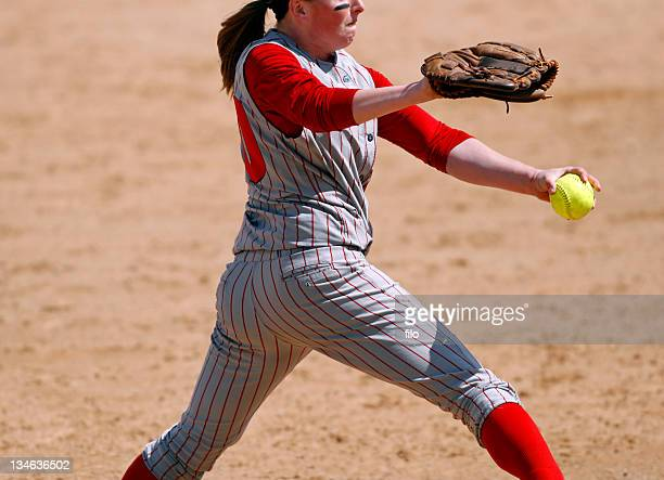 softball pitcher - softball sport stock pictures, royalty-free photos & images