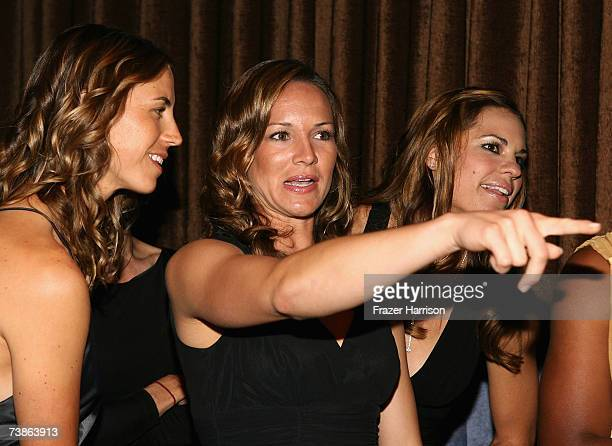 Softball player Amanda Freed points backstage at The Billies presented by The Women's Sports Foundation at the Beverly Hilton Hotel on April 11 2007...