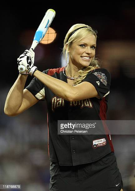 Softball player Jennie Finch warms up during the 2011 Taco Bell All-Star Legends & Celebrity Softball Game at Chase Field on July 10, 2011 in...
