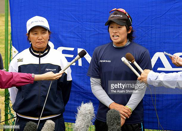 Softball player Yukiko Ueno speaks to the media reporter after softball making shortlist for 2020 Olympic on May 30 2013 in Takasaki Gunma Japan