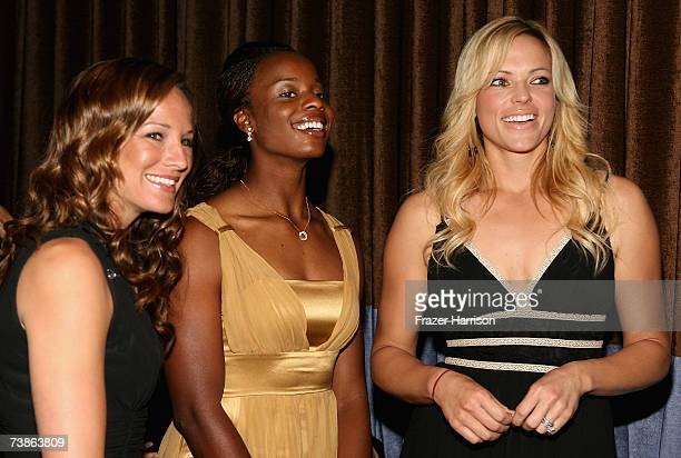Softball players Amanda Freed Natasha Watley and Jennie Finch smile backstage at the VIP Reception for The Billies presented by The Women's Sports...