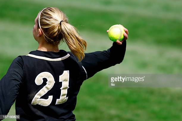 softball throw - baseball sport stock pictures, royalty-free photos & images